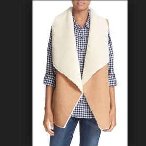 NWT Soft Joie Faux Shearling Drape Front Vest